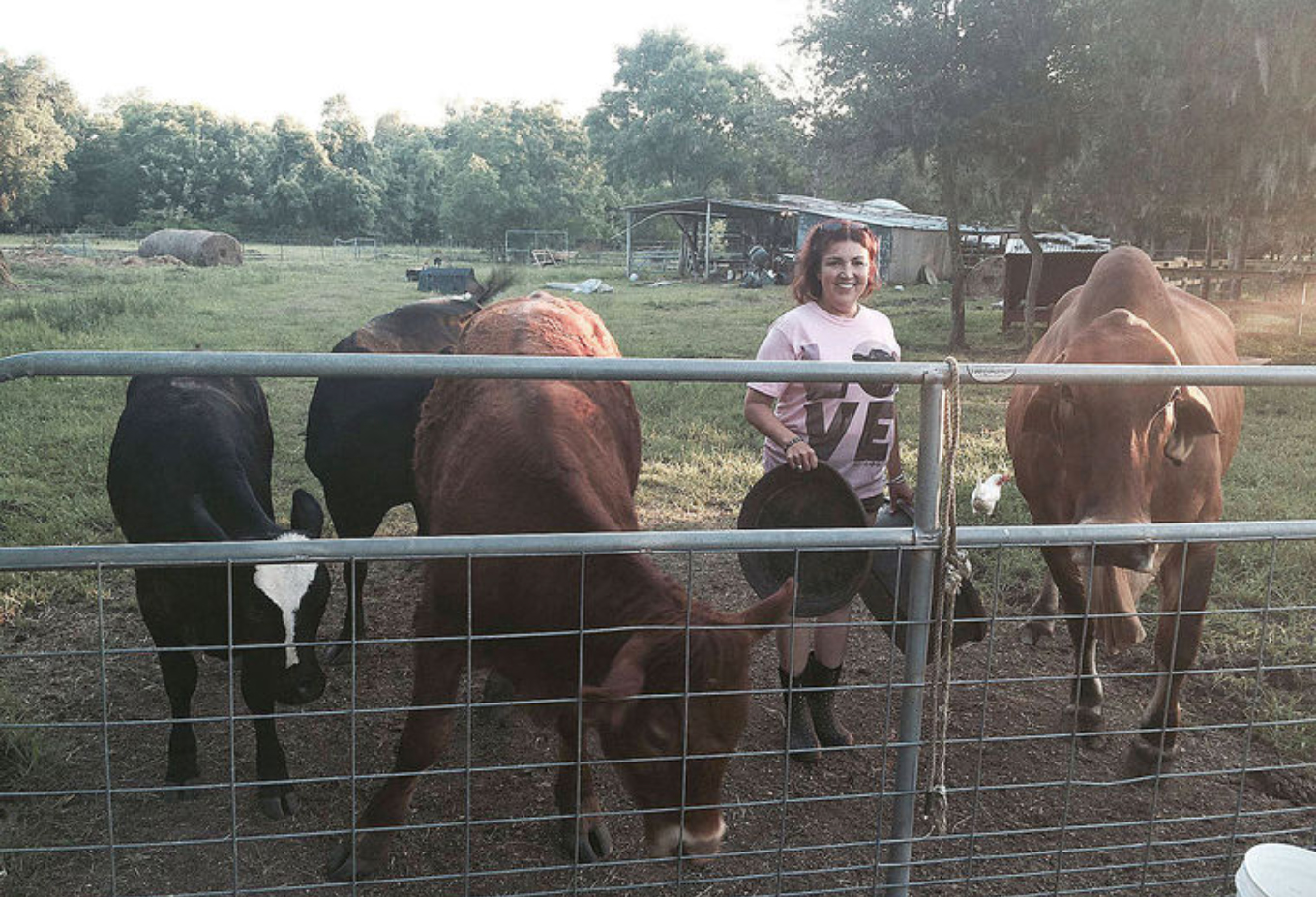 Renee with Cows