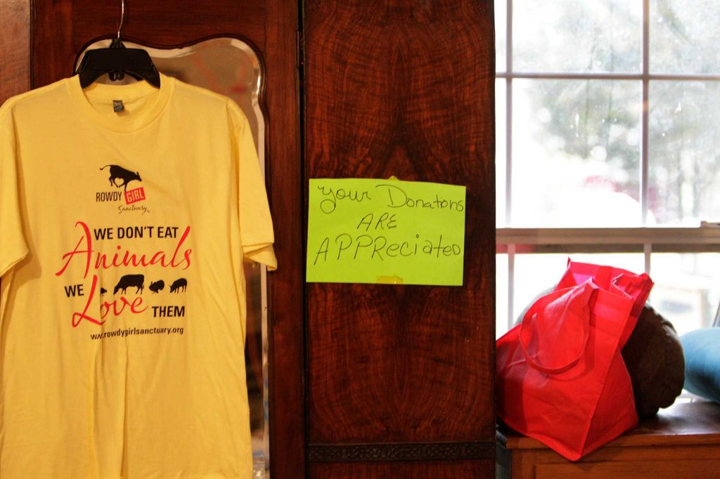 A Rowdy Girl Sanctuary shirt is displayed Tuesday, Jan. 26, 2016, in Angleton. The vegan farm sanctuary is run by King-Sonnen, who recently bought a herd of cattle from her husband in an effort to rescue the cows from slaughter. Now, the sanctuary is home to 48 cows, 7 chicken, a turkey, 4 horses and 4 pigs, who get to stay on the 96-acre lot in a sort of spa-retirement setting. While some of the cows were rescued locally, including the many from her husband's herd, there are new additions coming in from as far away as Florida, as King-Sonnen works to disrupt the traditional farming system that she feels is cruel to animals. ( Steve Gonzales / Houston Chronicle )